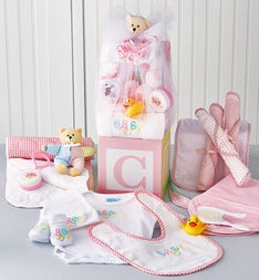 B-is-for-Baby Girl Gift Block