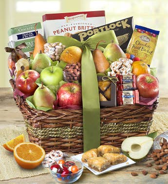 With Remembrance Kosher Fruit  Sweets Basket