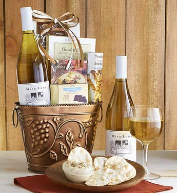 Grapevine White Wine  Cheese Gift Basket
