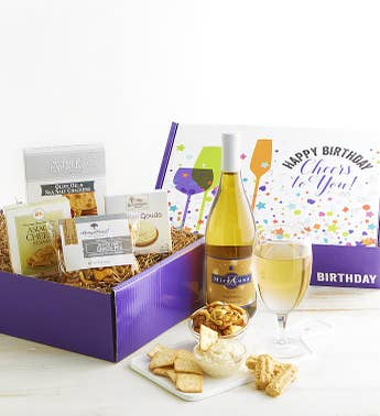 Happy Birthday White Wine and Gourmet Box