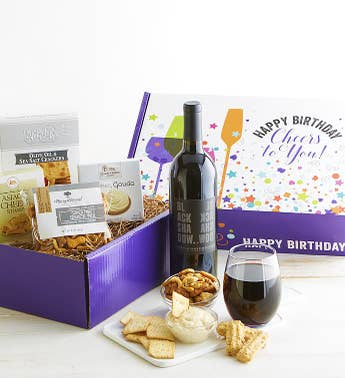 Happy Birthday Red Wine and Gourmet Box