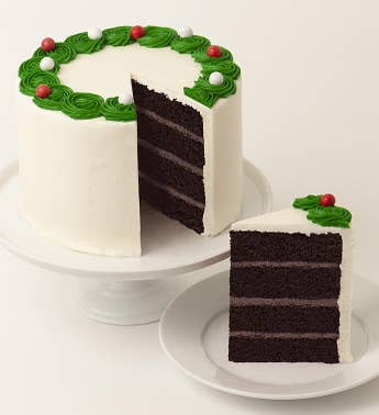 Holiday Wreath 4 Layer Frosted Chocolate Cake