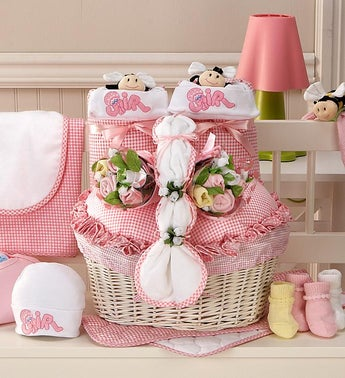 New Twin Girl Newborn Gift Basket