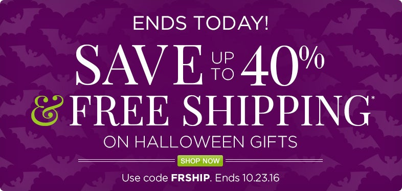Save up to 40% off Halloween+ Free Shipping