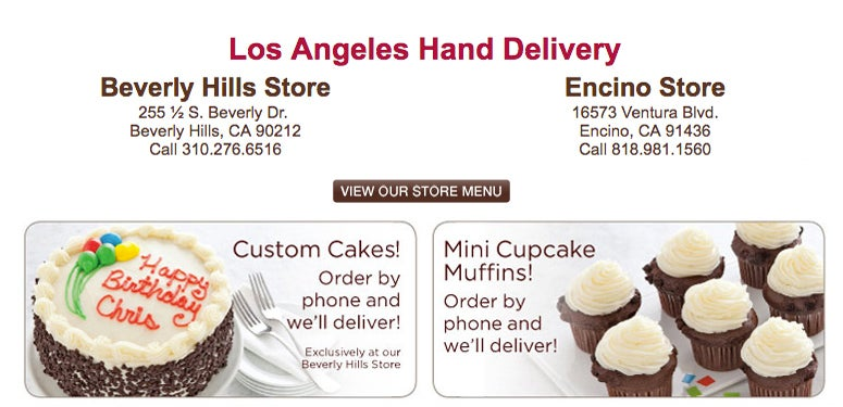 Los Angeles Hand Delivery. Click to view Store Menu