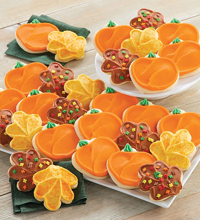 Buttercream Frosted Leaf and Pumpkin Cut-out Cookies