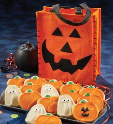 Buttercream Frosted Halloween Cut-out Cookies with Trick or Treat Tote