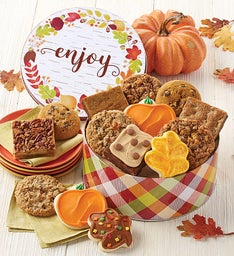 Autumn Greetings Gift Tin Cookie and Brownie Assortment