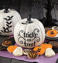 White Pumpkin Bat Cookie Jar