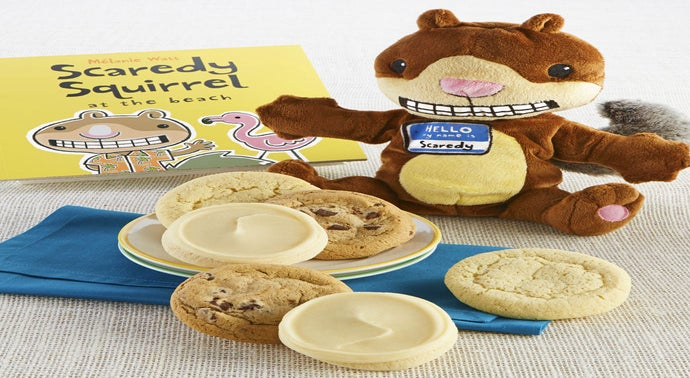Scaredy Squirrel on the Beach Book and Plush Cookie Gift