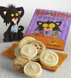Bad Kitty Scaredy Cat Book and Plush Cookie Gift