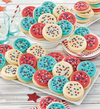 Buttercream Frosted Red White and Blue Cut Out Cookies
