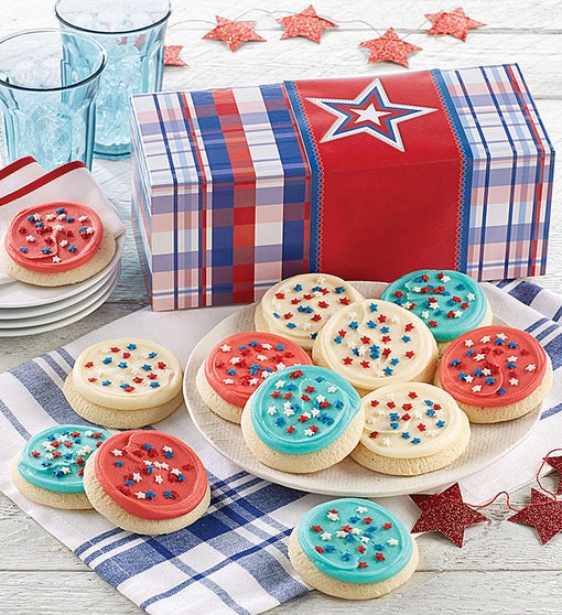 Red White and Blue Cookie Gift Box
