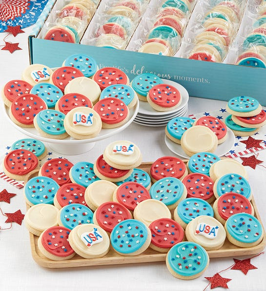 Cheryls 100 Buttercream Frosted Red White and Blue Cut-Out Cookies