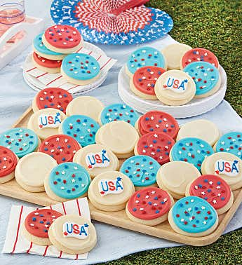 Buttercream Frosted Red White and Blue Cut-Out Cookies