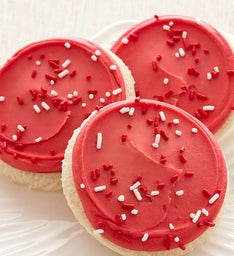 RED FROSTED CUTOUT WITH SPRINKLES