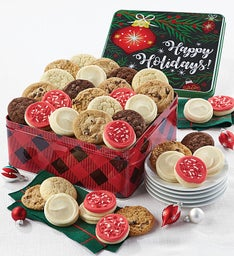 Deals on Premier Happy Holidays Plaid Gift Tin