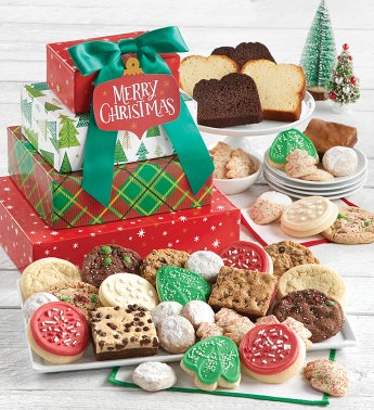 Traditional Merry Christmas Bakery Gift Tower