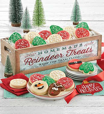 Reindeer Treats Wooden Dessert Tray - Large