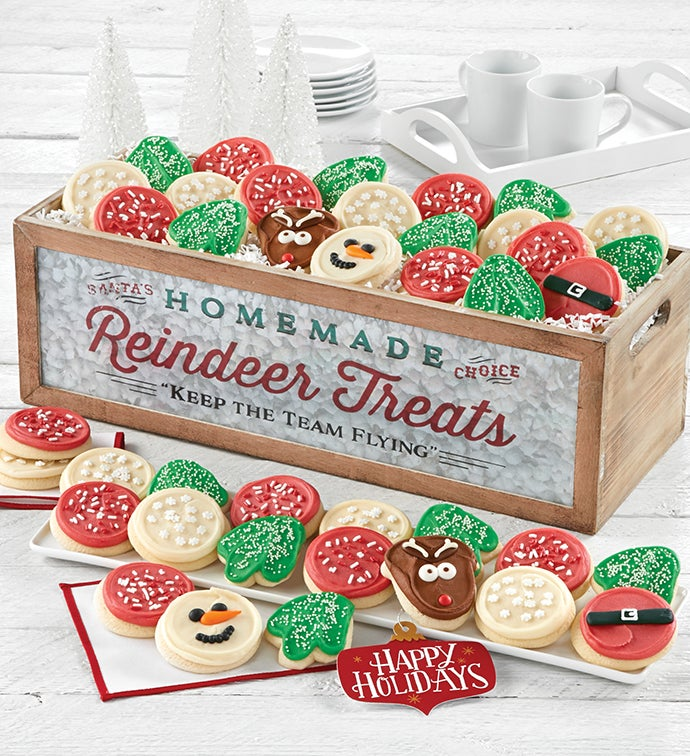 Reindeer Treats Wooden Dessert Tray - Grand