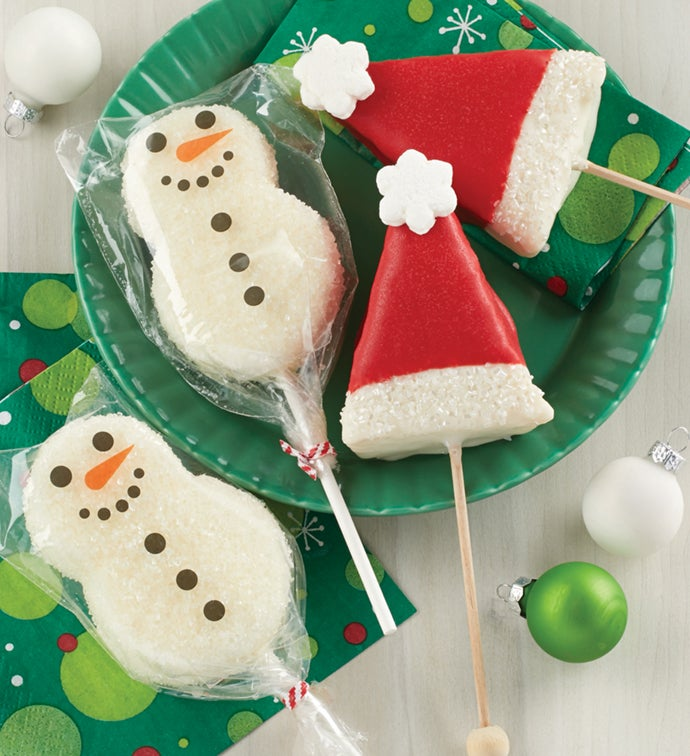 Holiday Crispy and Marshmallow Pops