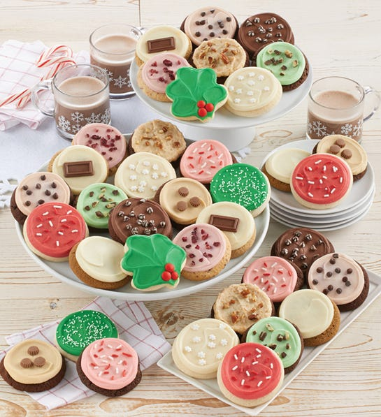 Cheryls 36-Count Buttercream Frosted Holiday Cookies Bow Gift Box