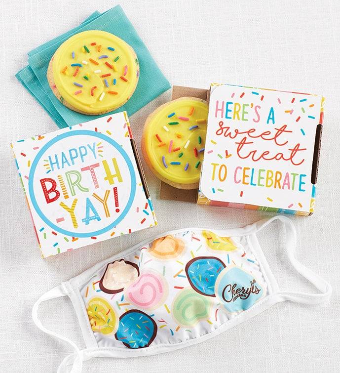 Happy Birthday Cookie Card with Face Mask