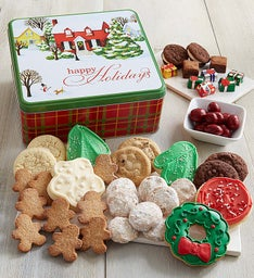 Home For The Holidays Treats Gift Tin - Happy Holidays