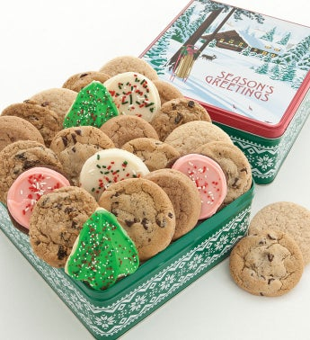 Warm Holidays Gift Tin 24 Assorted Cookies