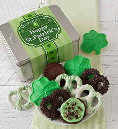 St Patrick's Day Gift Tin - Cookies and Pretzels