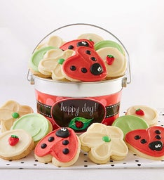 Lady Bug Buttercream Frosted Cookie Pail