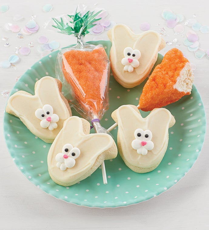 Buttercream Frosted Cut-Out Bunny Cookies and Crispy Carrot Pops