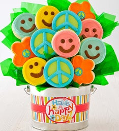 Happy Face Cookie Flower Pot