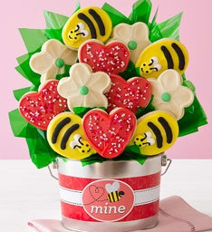 Bee Mine Cookie Flower Gift Pail