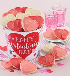 Happy Valentines Day Buttercream Frosted Cookie Pail 16 Cookies Deals