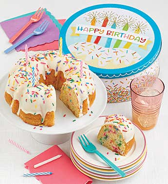 Musical Birthday Gift Tin with Confetti Birthday Cake