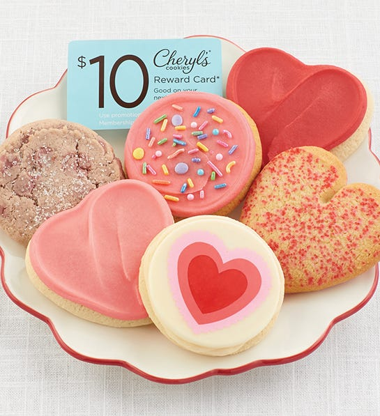 Valentines Day Cookie Sampler + $10 Cheryl's Reward Card