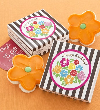 Happy Birthday Flower Bouquet Cookie & Gift Card
