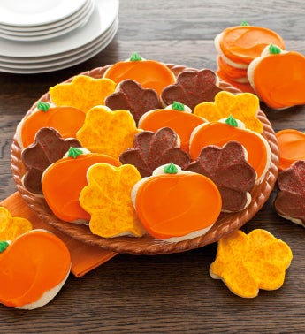 Buttercream Frosted Pumpkins and Leaves Cutout Cookies