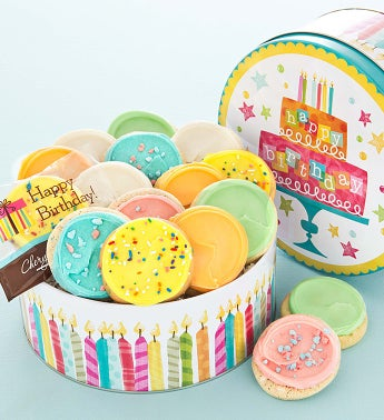 Musical Birthday Tin - 16 Frosted Cookies