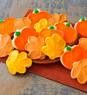 Buttercream Frosted Leaf and Pumpkin Cutout Cookies