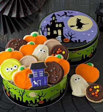 Halloween Haunted House Gift Tin - Frosted