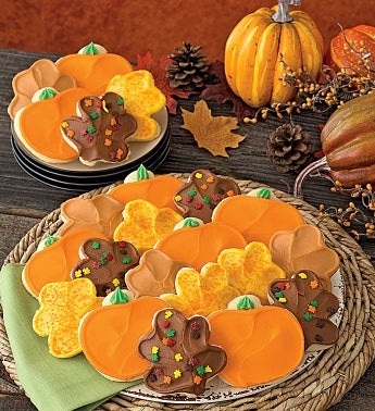 Buttercream Frosted Thanksgiving Leaf and Pumpkin Cut-out Cookies
