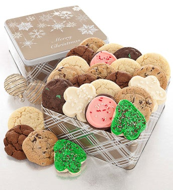 Sparkle Snowfall Tin Merry Christmas Assorted Cookies