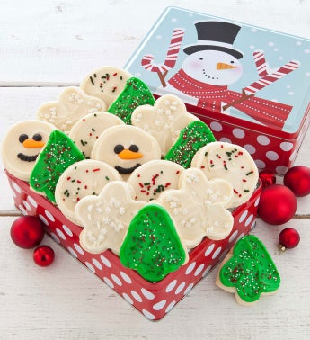 Joy Holiday Tin 16 Cutout Cookies