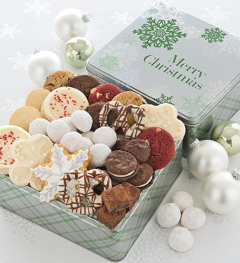 Elegant Holiday Tin Treats - Merry Christmas