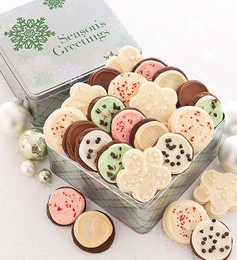 Elegant Holiday Gift Tin Frosted - Seasons Greetings