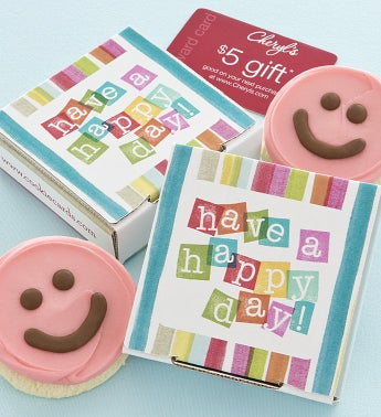 Have a Happy Day Cookie & Gift Card - Pink