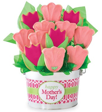 Mothers Day Pink Tulip Cookie Flower Pot