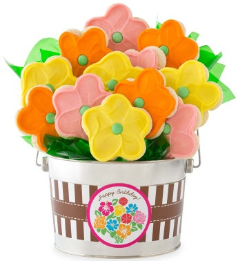 Happy Birthday Bouquet Cookie Flower Pot